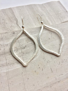 Brushed Tulip Earrings, silver