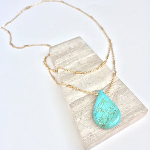 JPeace Designs Turquoise Droplet — Double Gold Chain Necklace