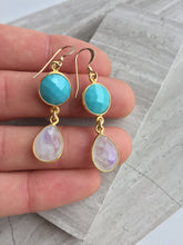 Turquoise Moonstone Earrings, in hand