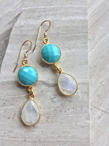Turquoise Moonstone Earrings