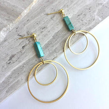 Turquoise Bar & Double Gold Hoop — Post Earrings
