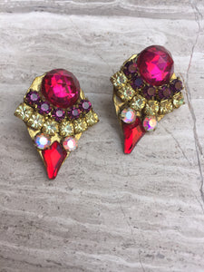 Vintage Rhinestone Post Earrings— Fuchsia