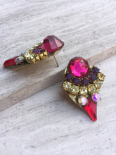 Vintage Rhinestone Post Earrings side view— Fuchsia