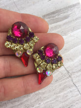 Vintage Rhinestone Post Earrings in hand— Fuchsia