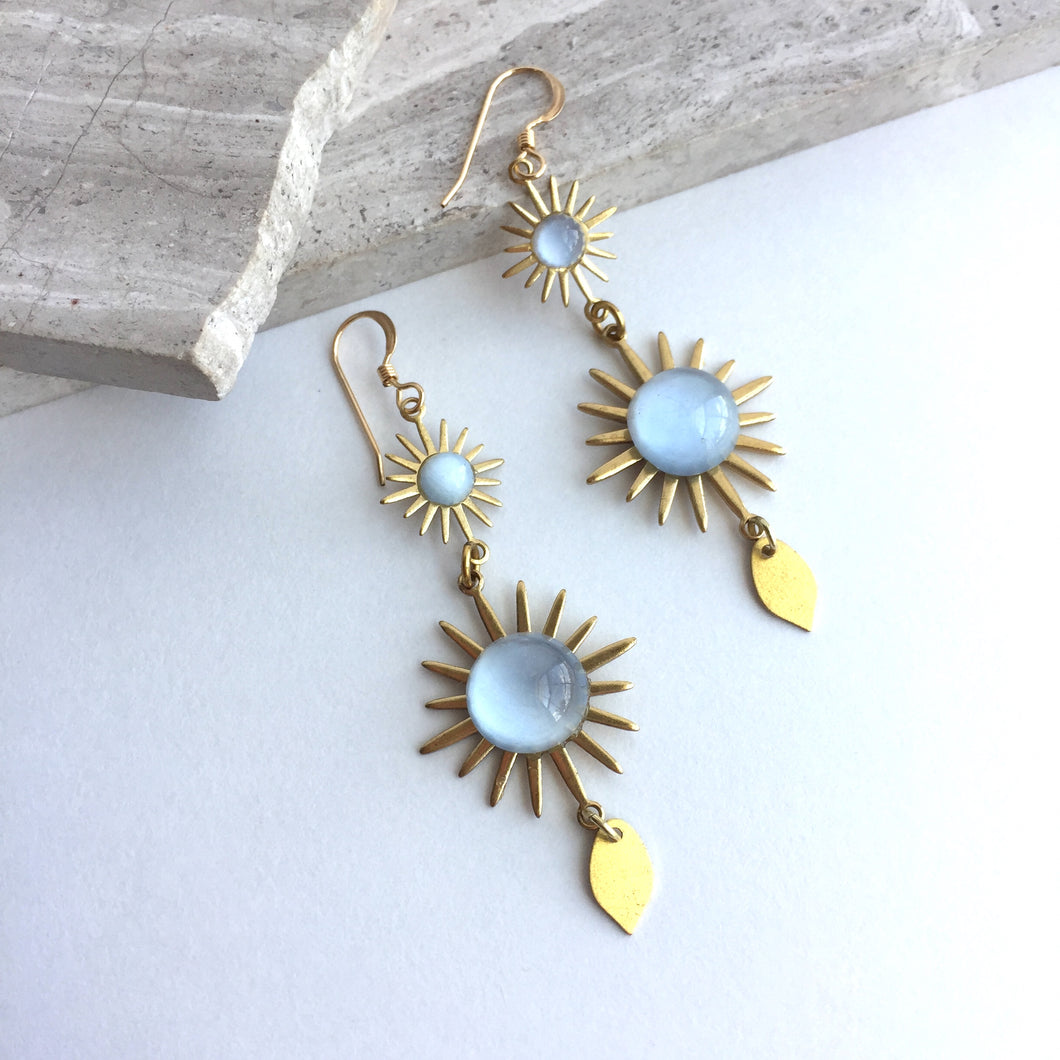Vintage Blue Glass Sun Burst Earrings