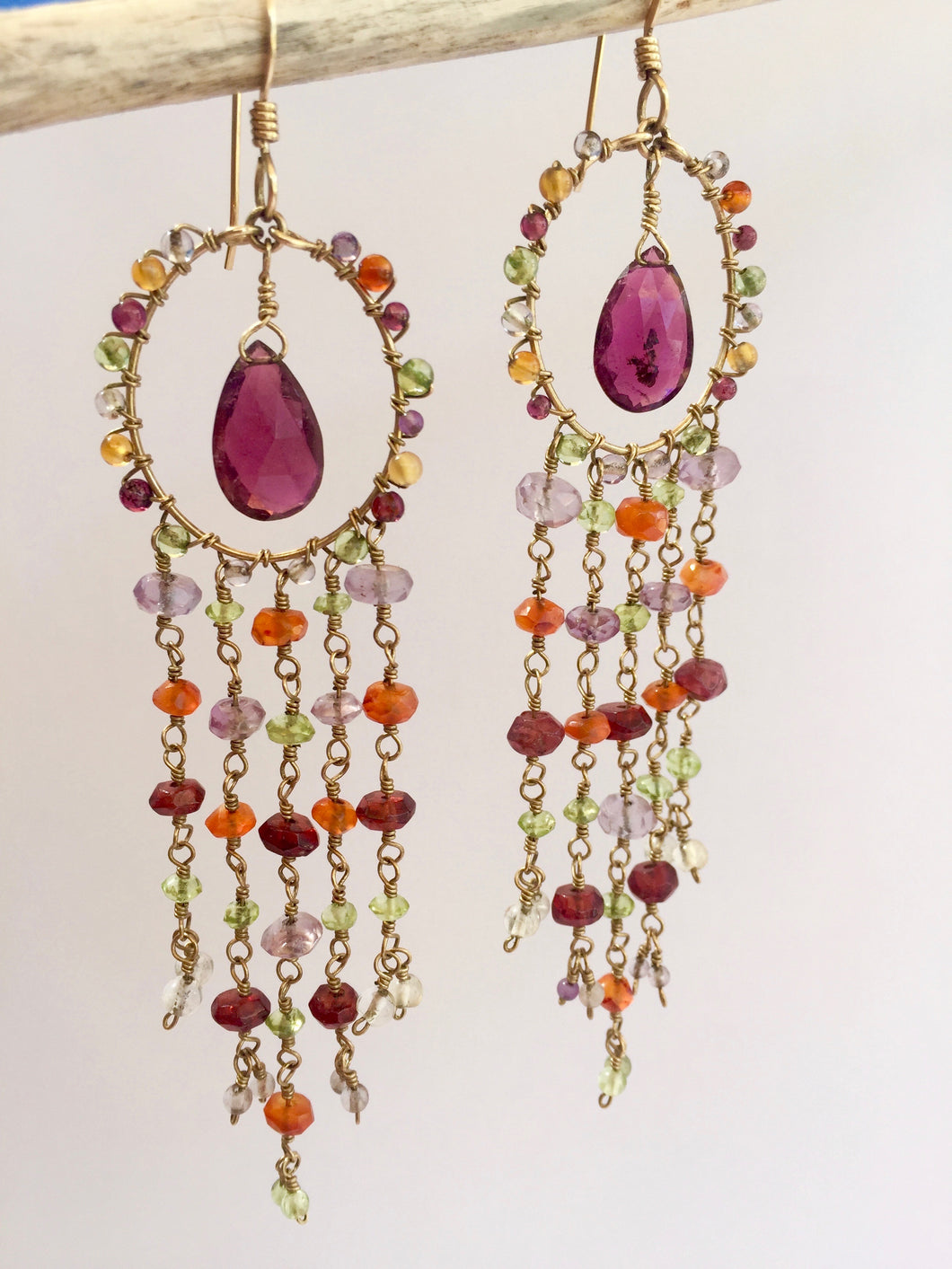 Waterfall Earrings, gold hanging