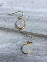 White druzy dot earrings —gold