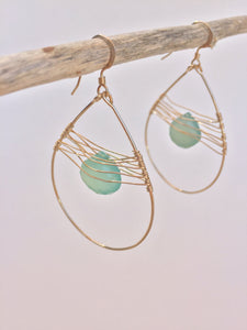 Woven Droplet Earrings — Aqua Chalcedony, hanging
