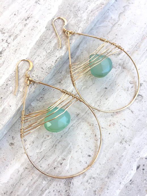 Woven Droplet Earrings — Aqua Chalcedony, gold