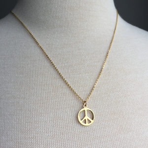 JPeace Designs Gold Peace sign Necklace
