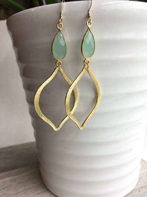 Aqua Chalcedony Tulip Earrings