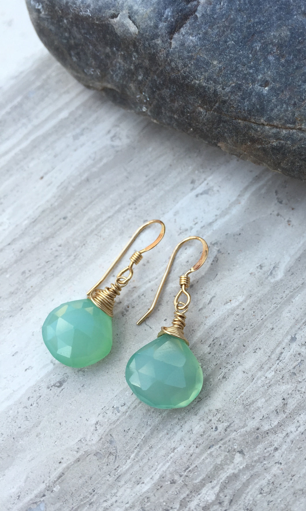 Aqua Chalcedony Wrapped Earrings gold
