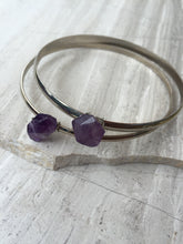 Amethyst — Silver Bangle Bracelet, double stack