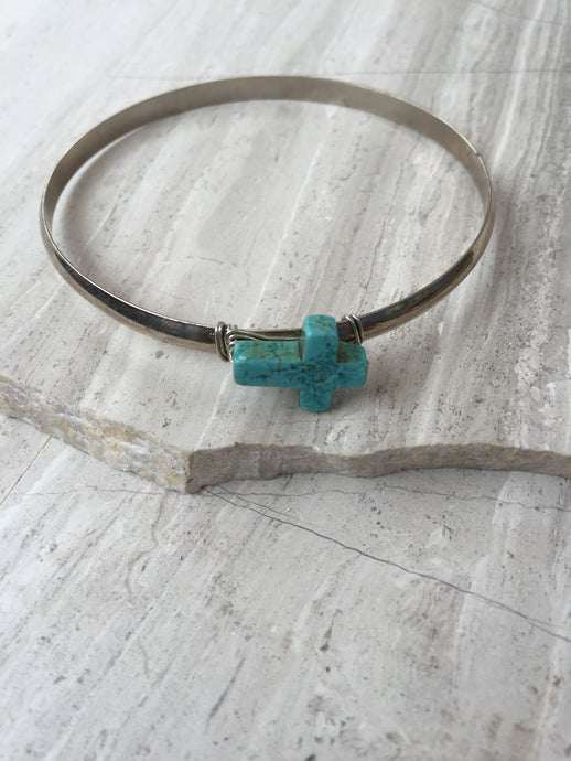Turquoise Cross — Silver Bangle Bracelet