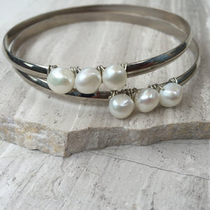 White Pearl — Silver Bangle Bracelet, two