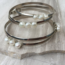 White Pearl — Silver Bangle Bracelet, stack