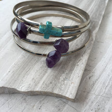 Turquoise Cross — Silver Bangle Bracelet, stack mix