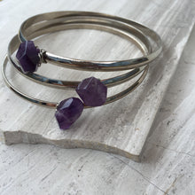 Amethyst — Silver Bangle Bracelet, triple stack