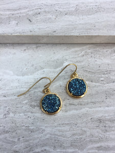 Blue druzy dot earrings —gold