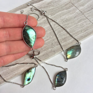 JPeace Designs Labradorite adjustable chain bracelet — Silver