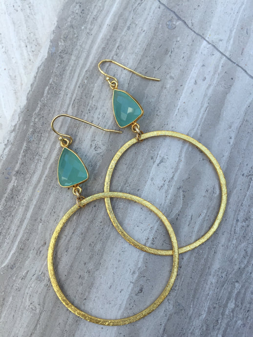 Chalcedony Brushed Hoop Earrings