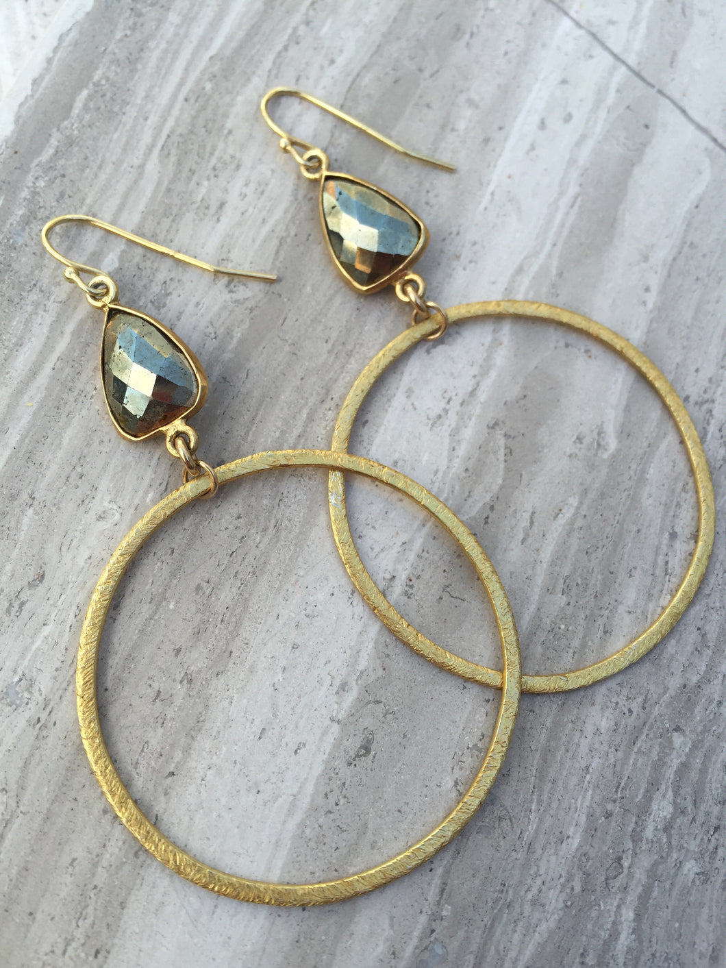 Pyrite Brushed Hoop Earrings