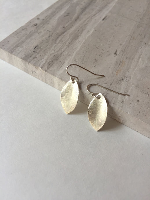 Brushed Leaf Earrings Sterling silver