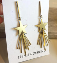 Shooting Star Long brass post Earrings