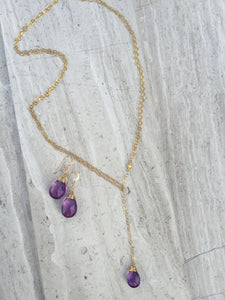 Cancun Lariat Necklace, Amethyst with Wrapped Earrings