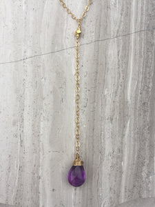 Cancun Lariat necklace, Amethyst Gold