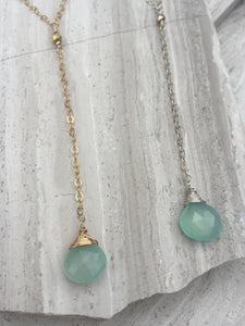 Cancun Lariat necklace, Aqua Chalcedony Gold & Sterling silver
