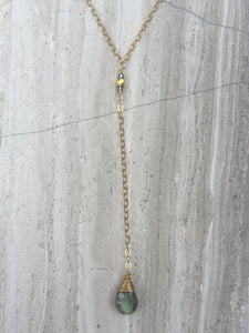 Cancun Lariat necklace, labradorite gold