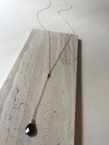 Cancun Lariat necklace, gold, black glass droplet