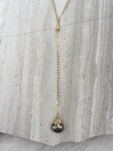 Cancun Lariat necklace, pyrite gold
