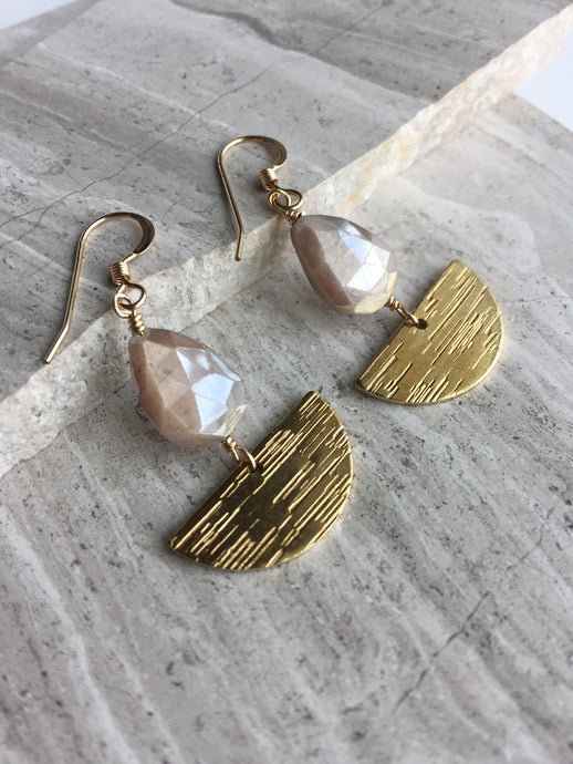 Chocolate Moonstone Sailboat Earrings