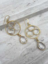 Quartz Crystal Trio Earrings gold
