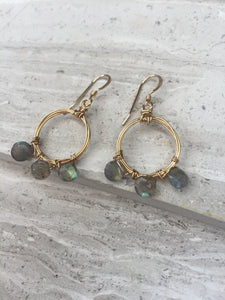 Coiled Hoop Wreath Earrings— Labradorite