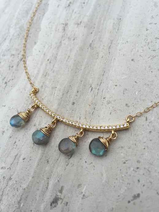 CZ bar and Labradorite dangles Necklace gold