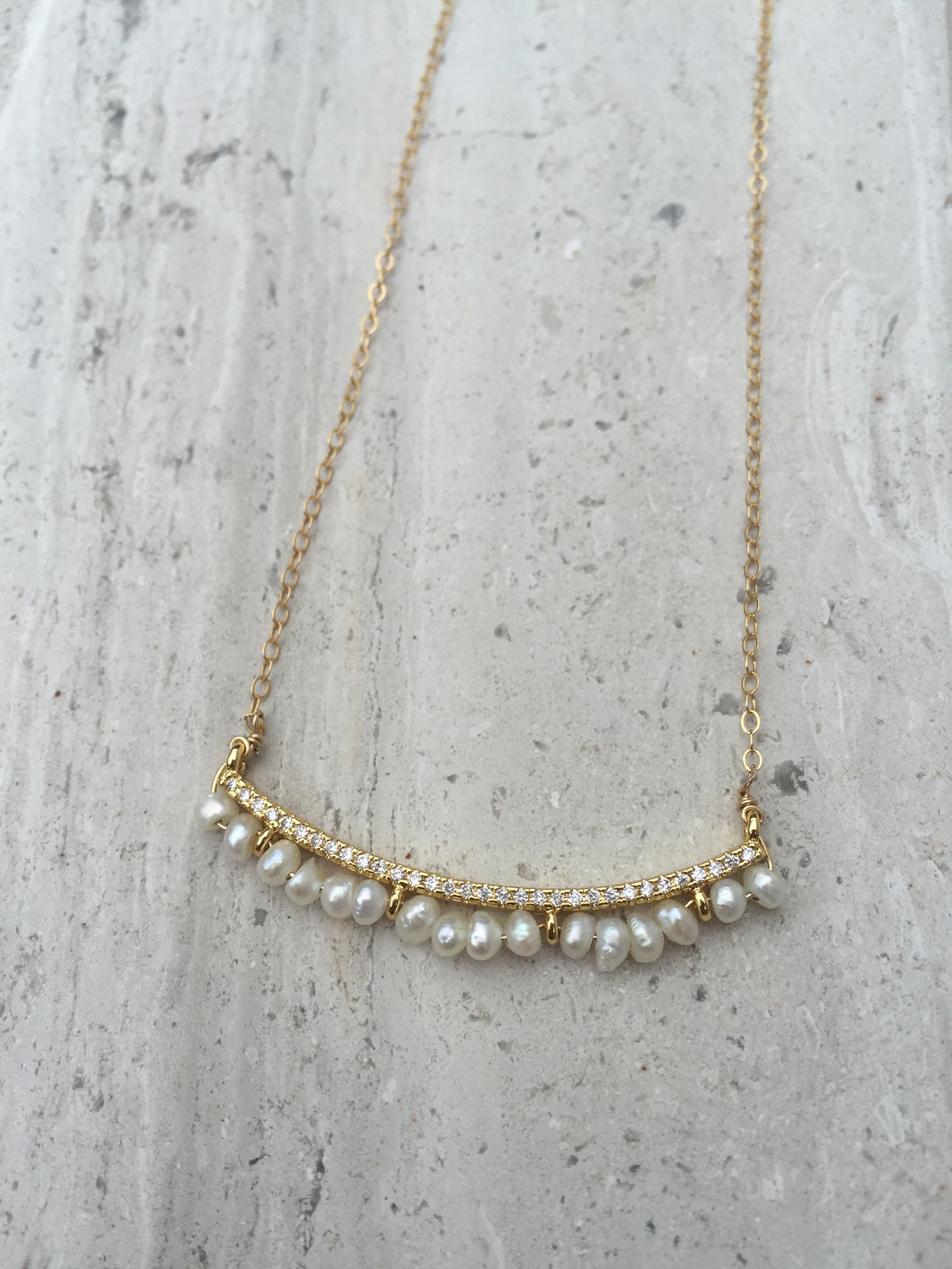CZ bar and Freshwater pearl Necklace gold