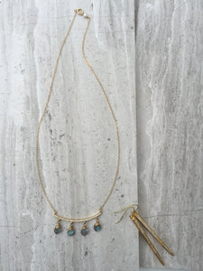 CZ bar and Labradorite dangles Necklace gold, cz spike earrings