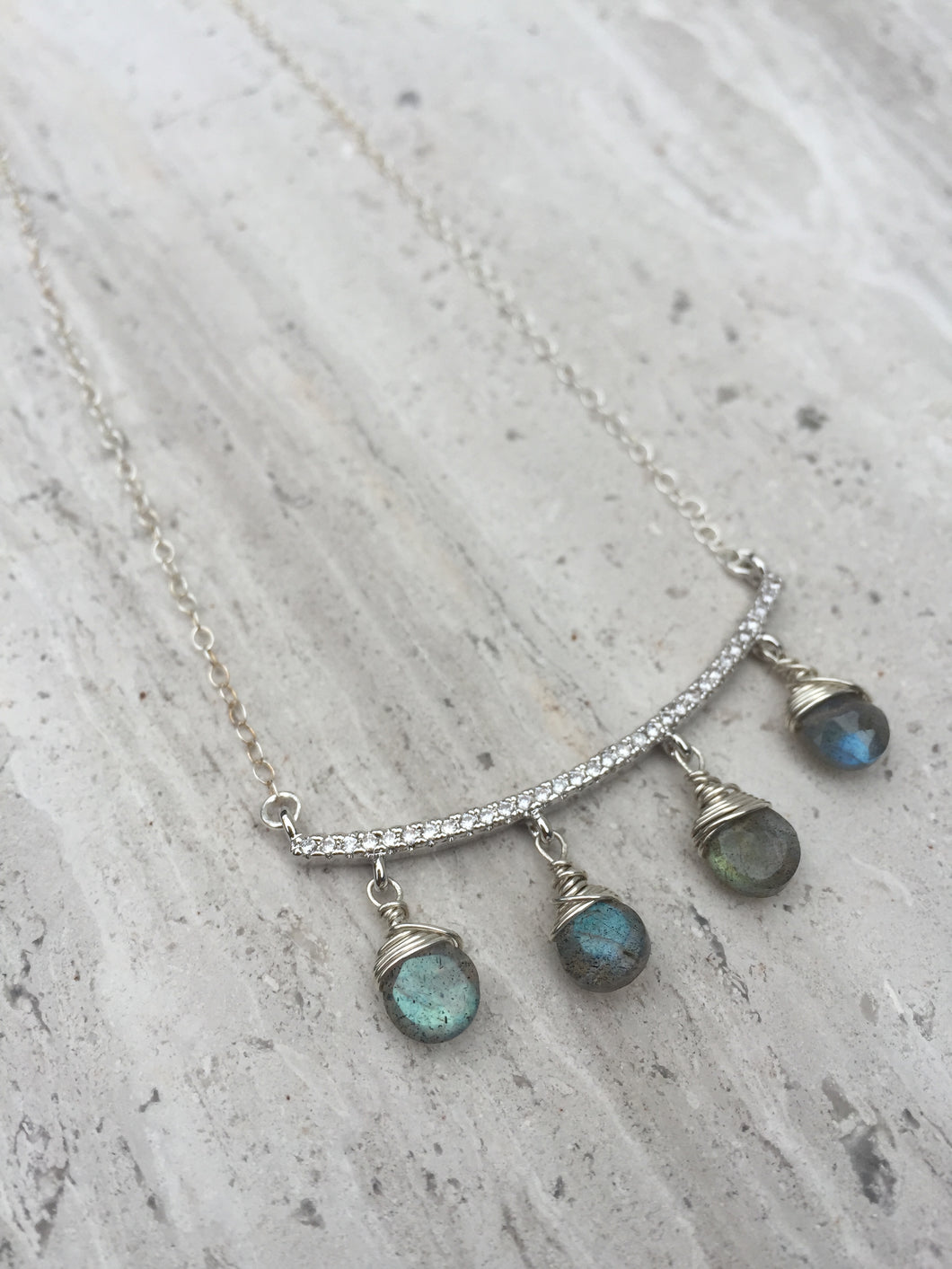 CZ bar and Labradorite dangles Necklace silver