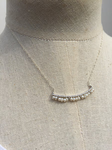 CZ bar and Freshwater pearl Necklace silver