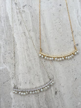 CZ bar and Freshwater pearl Necklaces, gold and silver