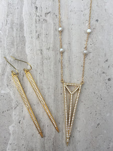CZ Art Deco Triangle Necklace gold, CZ spike earrings gold
