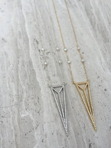CZ Art Deco Triangle Necklaces silver and gold