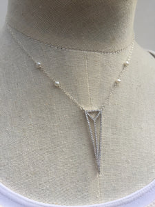 CZ Art Deco Triangle Necklace silver