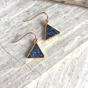 JPeace Designs Blue Druzy triangle Earrings