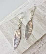 Silver Link & Feather charm Earrings