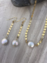 Dime Pearl Flash Earrings and Necklace gold