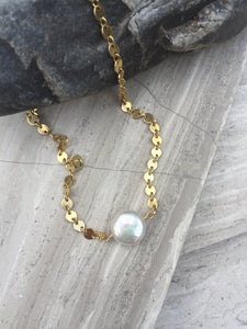 Dime Pearl Flash Necklace gold